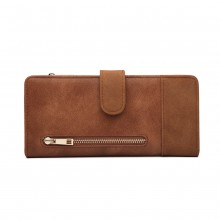 LN6883-MISS LULU PU LEATHER POPPER CLOSURE LONG PURSE BROWN