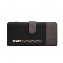LN6883-MISS LULU PU LEATHER POPPER CLOSURE LONG PURSE GREY/BLACK