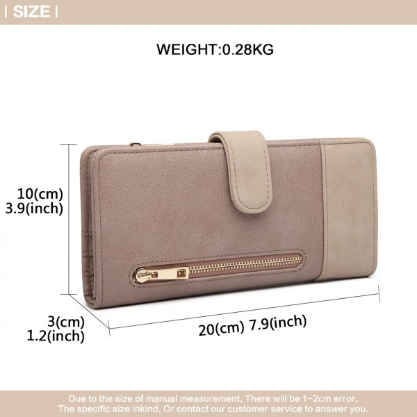 LN6883-MISS LULU PU LEATHER POPPER CLOSURE LONG PURSE GREY