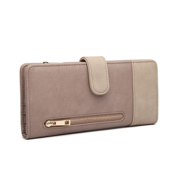 LN6883-MISS LULU PU CUERO CIERRE POPPER LONG PURSE GREY