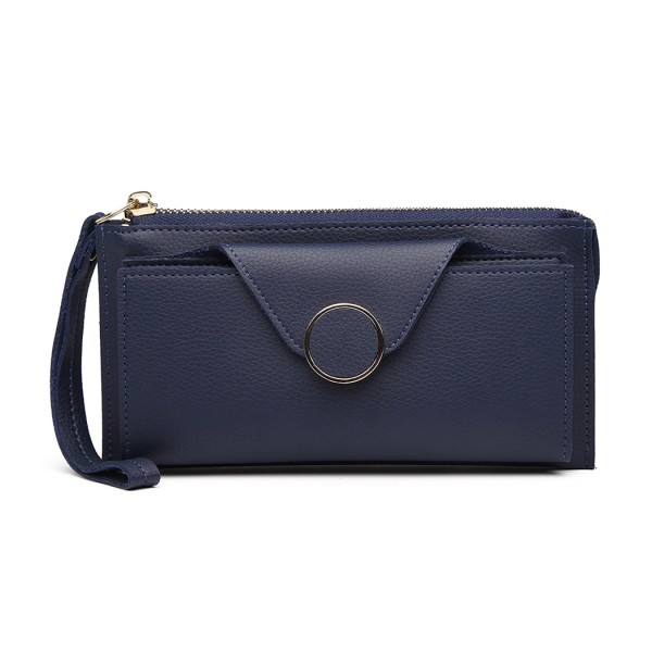 LN6884-MISS LULU PEBBLED LEATHER WALLET CLUTCH WITH WRISTLET HANDLE BLUE