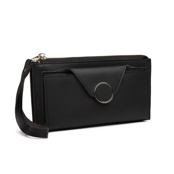 LN6884-MISS LULU PEBBLED LEATHER WALLET CLUTCH WITH WRISTLET HANDLE BLACK