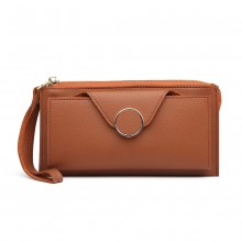 LN6884-MISS LULU PEBBLED LEATHER WALLET CLUTCH WITH WRISTLET HANDLE BROWN