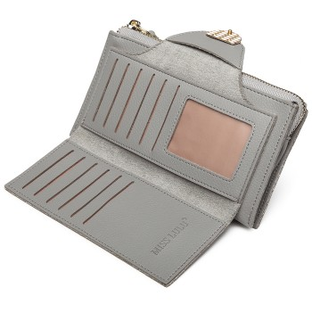 LN6884-MISS LULU PEBBLED LEATHER WALLET CLUTCH WITH WRISTLET HANDLE GREY