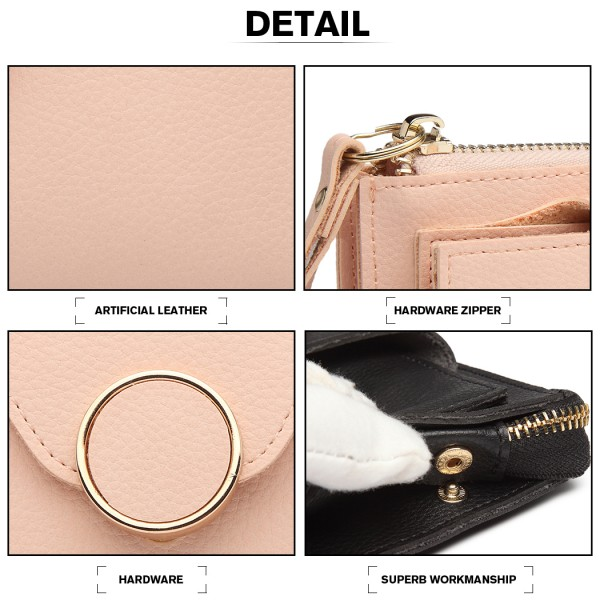 LN6884-MISS LULU PEBBLED LEATHER WALLET CLUTCH WITH WRISTLET HANDLE PINK