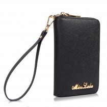 LP1622 - Miss Lulu Textured Real Leather Zip Around Purse Black