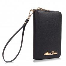 LP1622 - Portefeuilles Miss Lulu en cuir véritable texturé zippé en noir