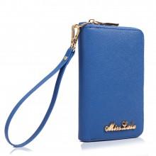 LP1622 - Portefeuilles Miss Lulu en cuir véritable texturé zippé en bleu marine