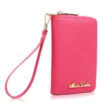LP1622 - Miss Lulu Textured Genuine Leather Zip Around Purse Pink