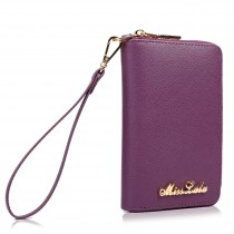 LP1622 - Miss Lulu Textured Real Leather Zip Around Purse Purple