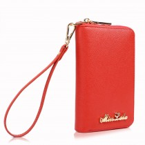 LP1622 - Miss Lulu Textured Genuine Leather Zip Around Purse Red