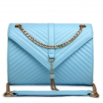 E1635 - Miss Lulu Leather Look Quilted Chain Shoulder Bag Light Blue