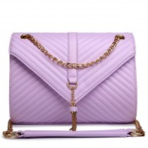 E1635 - Miss Lulu Leather Look Quilted Chain Shoulder Bag Light  Purple