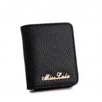 LP1680 - Miss Lulu Small Textured Leather Look Purse Black