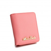LP1680 - Miss Lulu Small Textured Leather Look Purse Pink