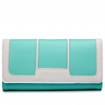 LP1681 - Miss Lulu Leather Look Three Square Purse Light Blue And White