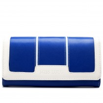 LP1681 - Miss Lulu Leather Look Three Square Purse Navy And White