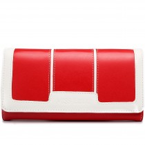LP1681 - Miss Lulu Leather Look Three Square Purse Red And White