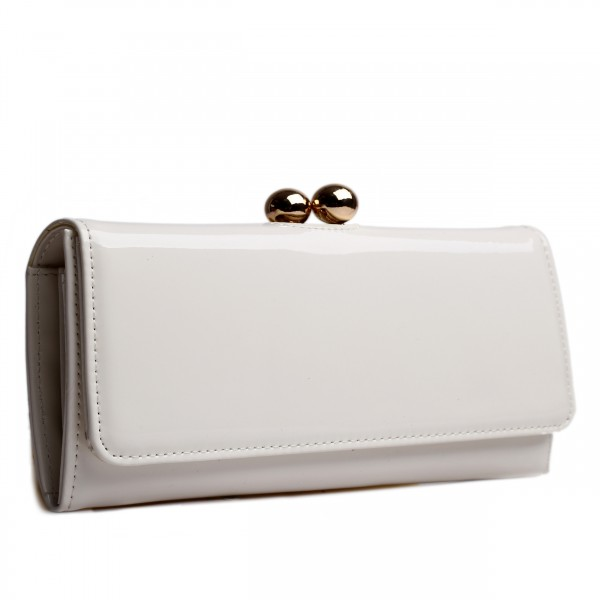 LP1684 - Miss Lulu Patent Leather Look Ball Clasp Matinee Purse Beige