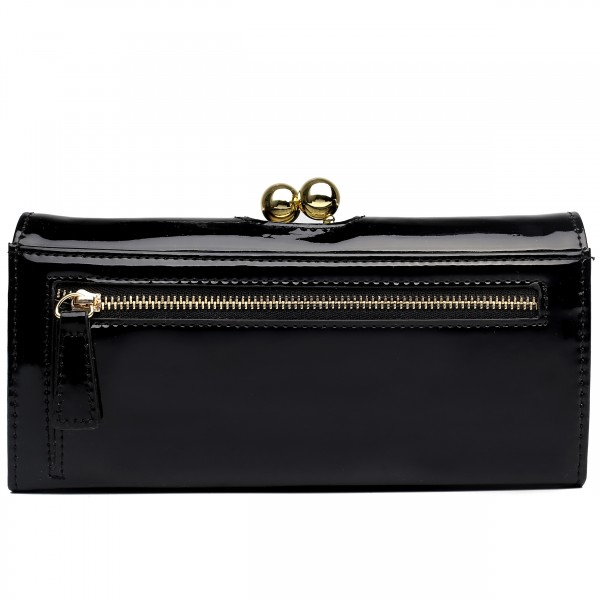 LP1684 - Miss Lulu Patent Leather Look Ball Clasp Matinee Purse Black