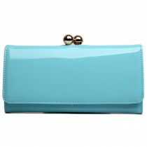 LP1684 - Miss Lulu Patent Leather Look Ball Clasp Matinee Purse Blue