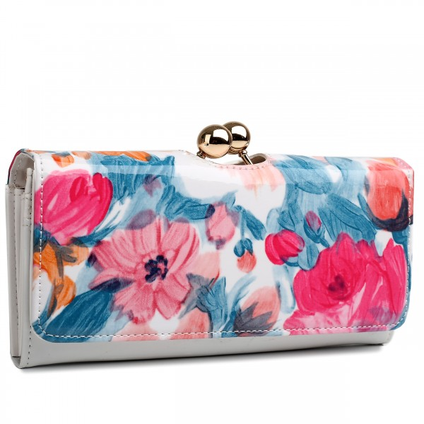 LP1684F - Miss Lulu Patent Leather Look Ball Clasp Matinee Purse Flower Blue