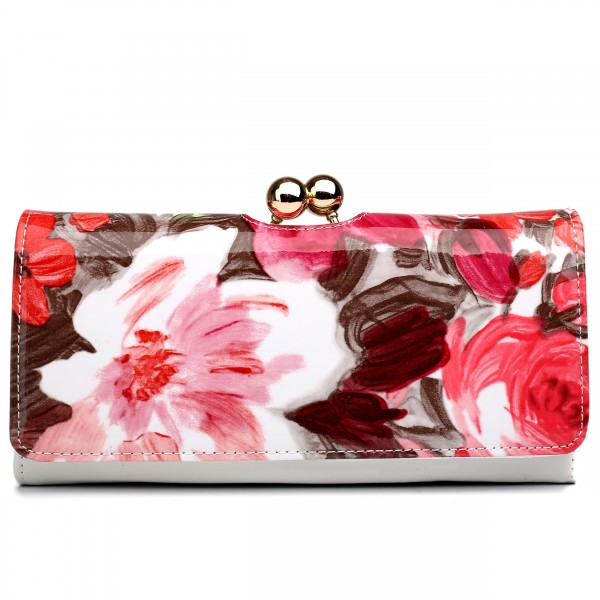 LP1684F - Miss Lulu Patent Leather Look Ball Clasp Matinee Purse Flower Pink