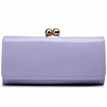 LP1684 - Miss Lulu Patent Leather Look Ball Clasp Matinee Purse Light Purple