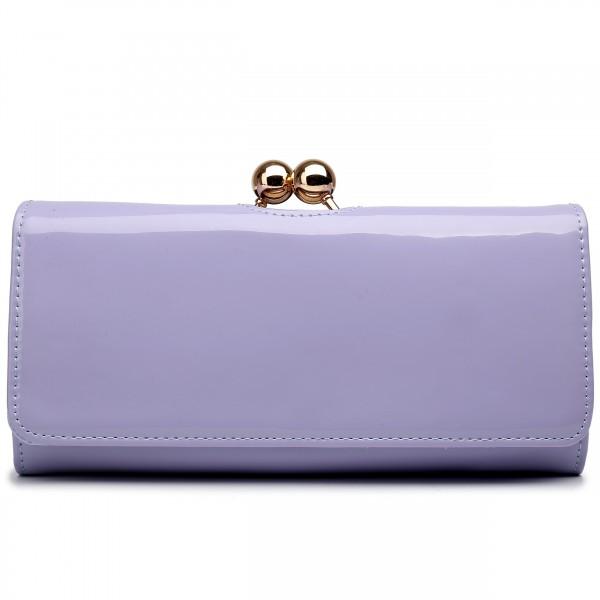 LP1684 - Miss Lulu Patent Leather Look Ball Clasp Matinee Purse Light Purple