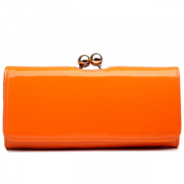 LP1684 - Miss Lulu Patent Leather Look Ball Clasp Matinee Purse Orange