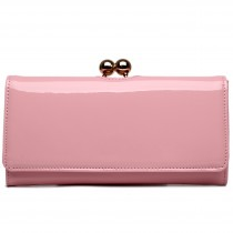 LP1684 - Miss Lulu Patent Leather Look Ball Clasp Matinee Purse Pink