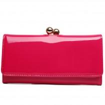 LP1684 - Miss Lulu Patent Leather Look Ball Clasp Matinee Purse Plum