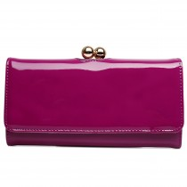 LP1684 - Miss Lulu Patent Leather Look Ball Clasp Matinee Purse Purple