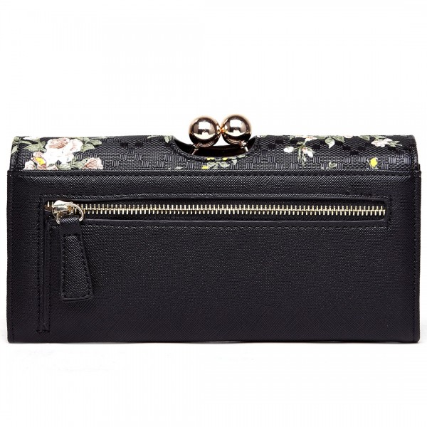 LP1684CF - Miss Lulu Leather Look Ball Clasp Matinee Purse Flower Black