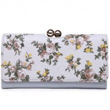 LP1684CF - Miss Lulu Leather Look Ball Clasp Matinee Purse Flower Light Grey