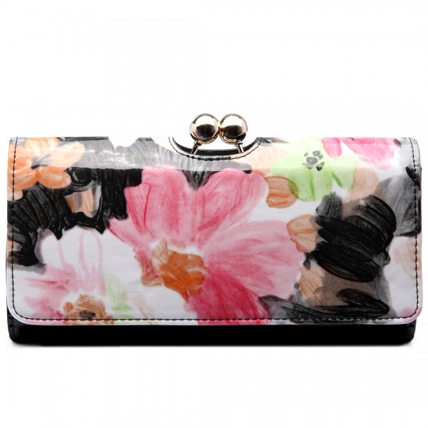 LP1684F - Miss Lulu Patent Leather Look Ball Clasp Matinee Purse Flower Black