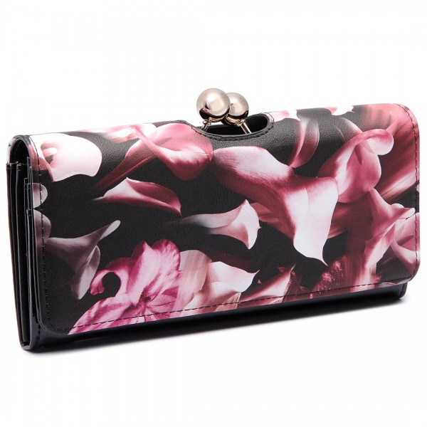 LP1684F - Miss Lulu Patent Leather Look Ball Clasp Matinee Purse Flower Purple