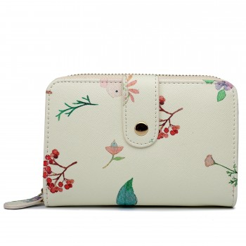 LP1685 - Miss Lulu Small Leather Look Printed Floral Purse Beige