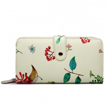 LP1686 - Miss Lulu Large Leather Look Printed Floral Purse Beige