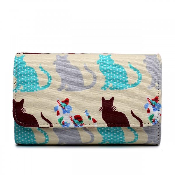 LP1687CT - Miss Lulu Canvas Printed Flapover Purse Cat Beige