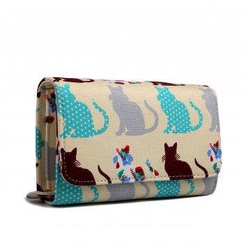 LP1687CT - Miss Lulu Canvas Printed Flapover Purse Cat Beige