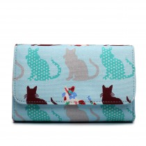 LP1687CT - Miss Lulu Canvas Printed Flapover Purse Cat Blue