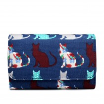 LP1687CT - Miss Lulu Canvas Printed Flapover Purse Cat Navy