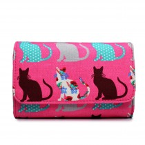 LP1687CT - Miss Lulu Canvas Printed Flapover Purse Cat Pink
