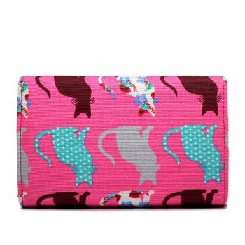 LP1687CT - Miss Lulu Canvas Printed Flapover Purse Cat Pink