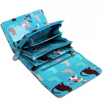 LP1687CT - Miss Lulu Canvas Printed Flapover Purse Cat Teal