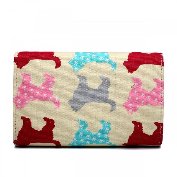 LP1687NDG - Miss Lulu Canvas Printed Flapover Purse Dog Beige