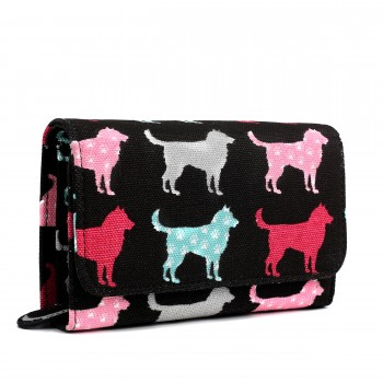 LP1687NDG - Miss Lulu Canvas Printed Flapover Purse Dog Black