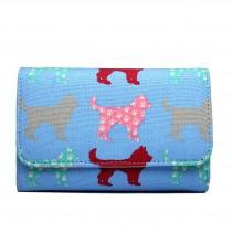 LP1687NDG - Miss Lulu Canvas Printed Flapover Purse Dog Blue