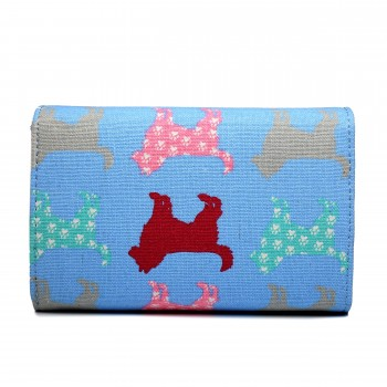 LP1687NDG - Miss Lulu Canvas Printed Flapover Purse Dog Blue